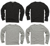Prázdné černé a šedé dlouhý rukáv košile