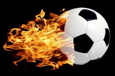 An image of a leather soccer ball in flames soaring through the air. stock vector