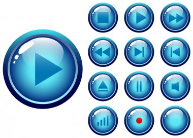 Glossy buttons audio-video media control