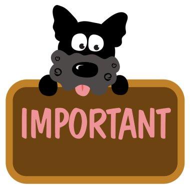 Dog holding sign isolated