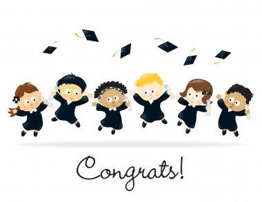 Graduating kids - multi-ethnic