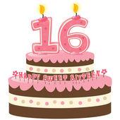 sladký šestnáct narozeninový dort