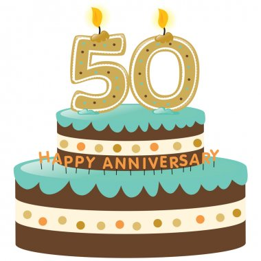 50th Anniversary Cake and Candles