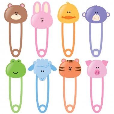 Baby Animal Safety Pins Set 1