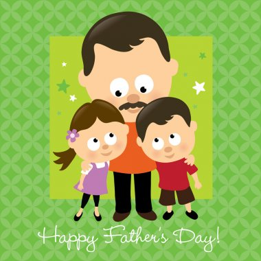 Illustration of two kids hugging their daddy clip art vector