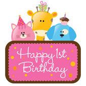 Happy First Birthday w / Tiere