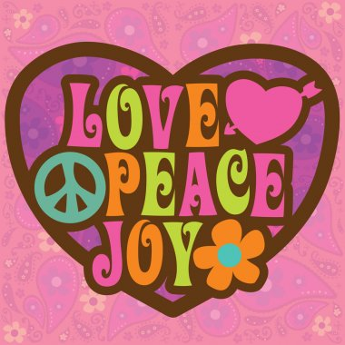 70s Love Peace Joy Design