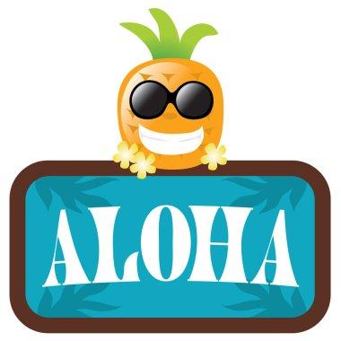 Hawaiian Pineapple with Aloha Sign