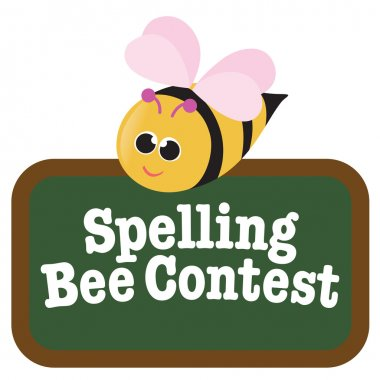 Isolated Spelling Bee with Sign stock vector