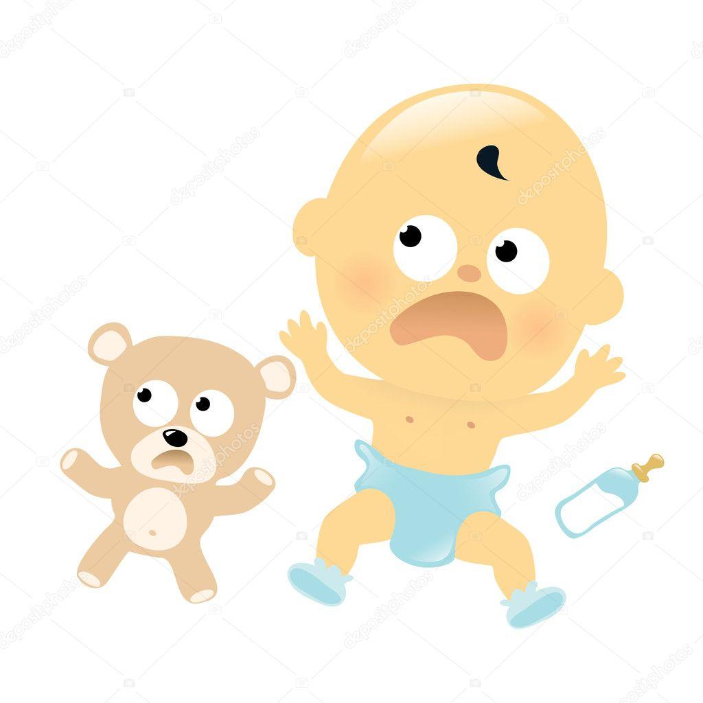 怖がっている赤ん坊およびテディ ・ ベア — ストックベクター © wetnose
