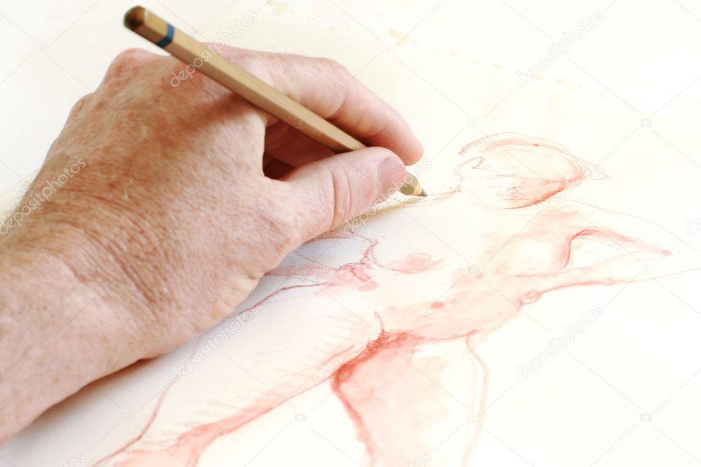 eine weibliche Figur zeichnen — Stockfoto © barnabychambers #3052194