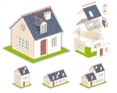 Isometric vector illustration of a house