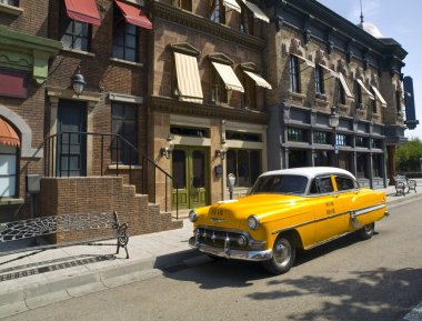 Old American Taxi in a old town