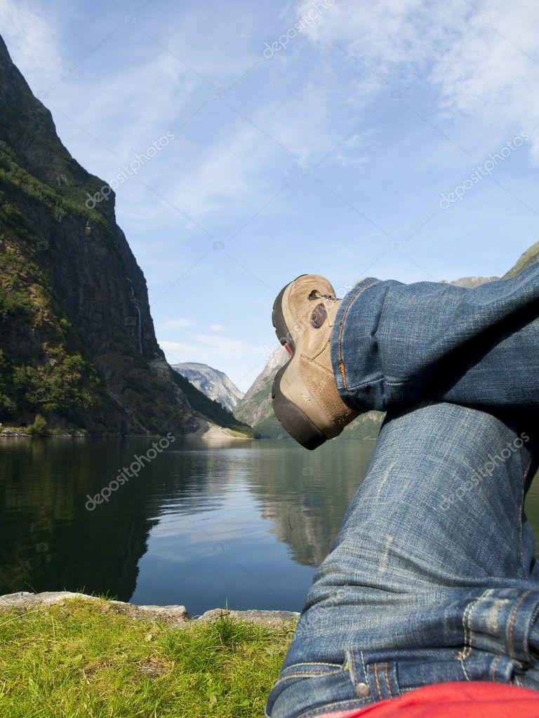 Relaxing in the Gudvangen Fjord