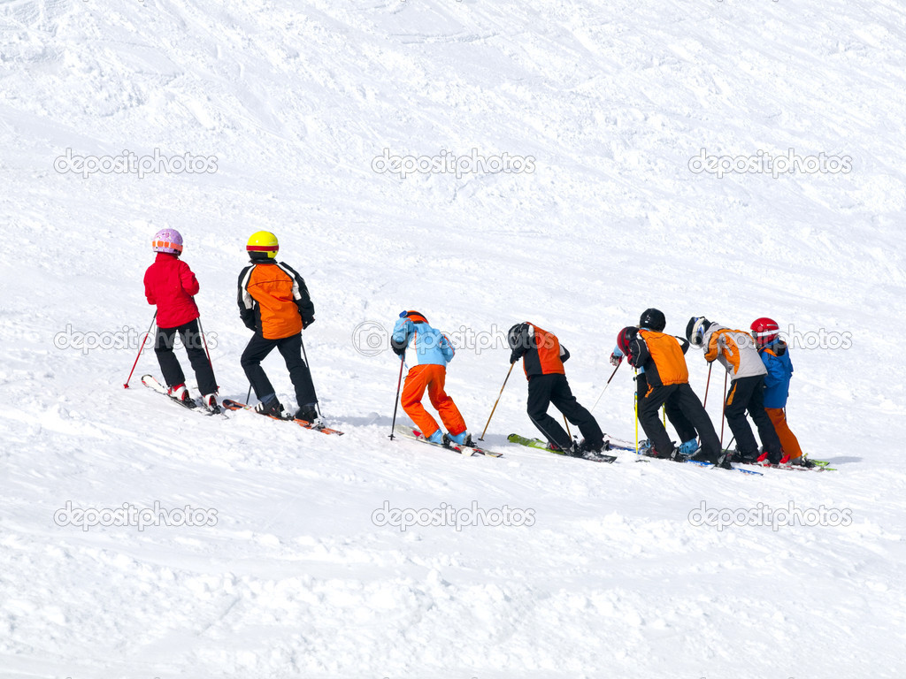Children practicing ski