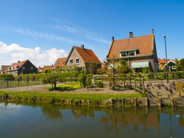 Marken is a peninsula in the IJsselmeer, the Netherlands, located in the municipality Waterland in the province North Holland. It is a former island, which nowa stock vector