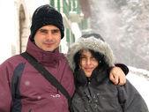 Fotografie junges paar im schnee