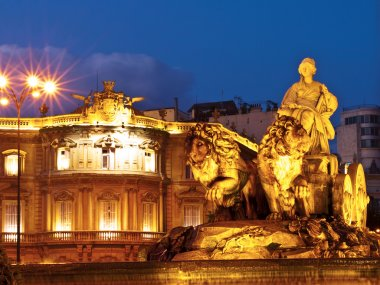 La Cibeles Fountain By Night, Madrid