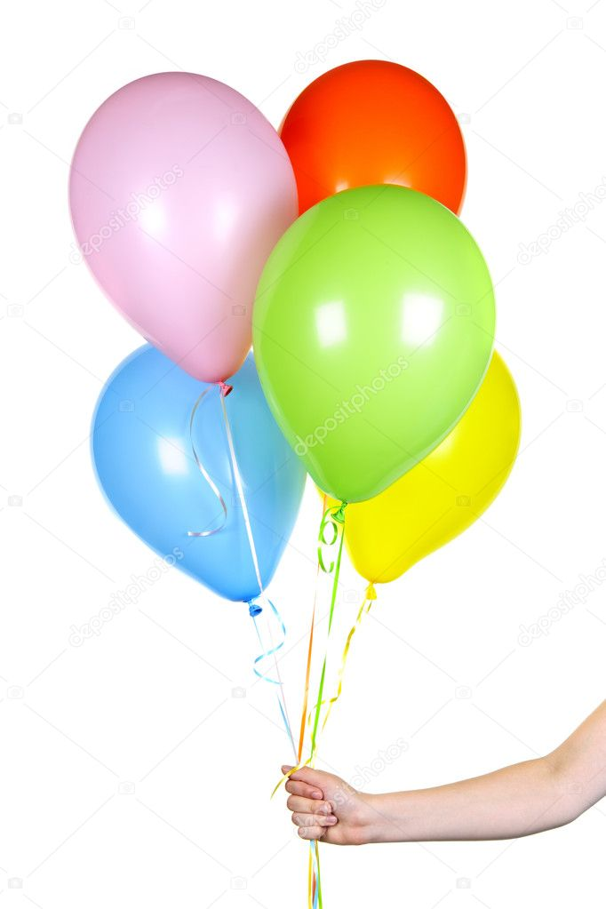 Hand holding balloons on white stock photo for What to do with balloons
