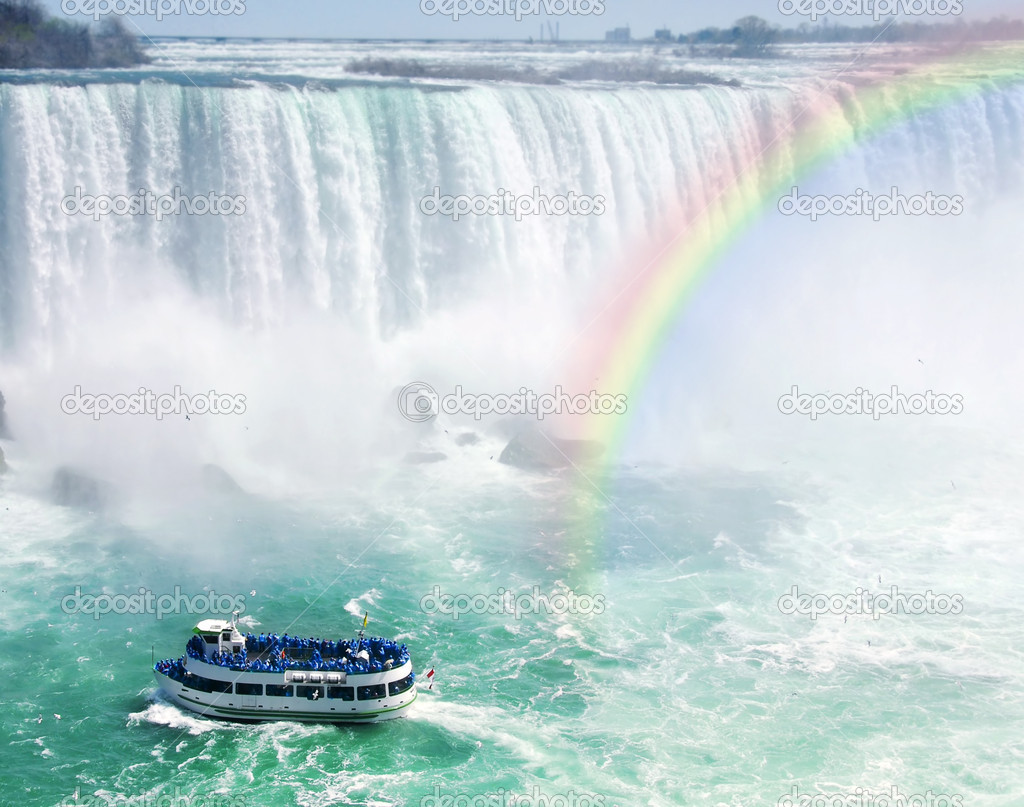 Фотообои Rainbow and tourist boat at Niagara Falls