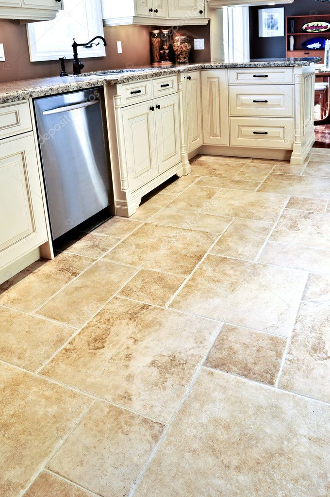 Tile floor in modern kitchen stock photo elenathewise for Modern tile kitchen floor