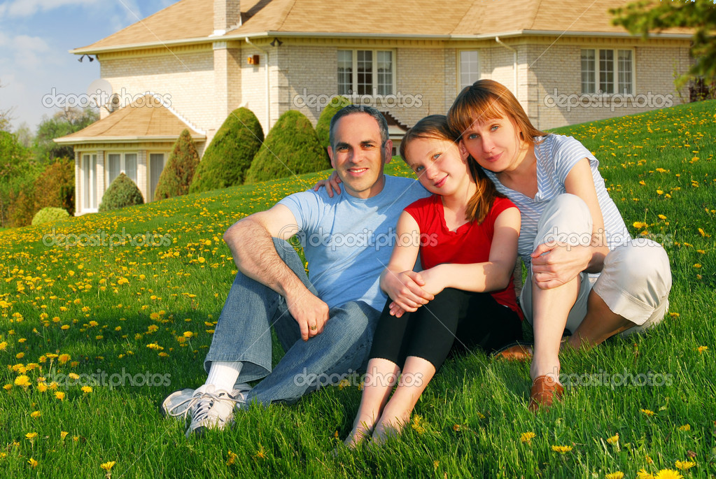 Happy family in front of house images for Family in house