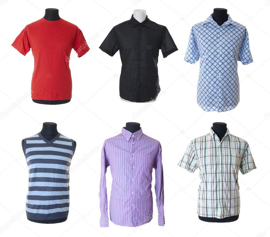 c28414f78d 6 ropa masculina con mangas cortas y largas en el torso del maniquí. aislado  sobre fondo blanco — Foto de ...