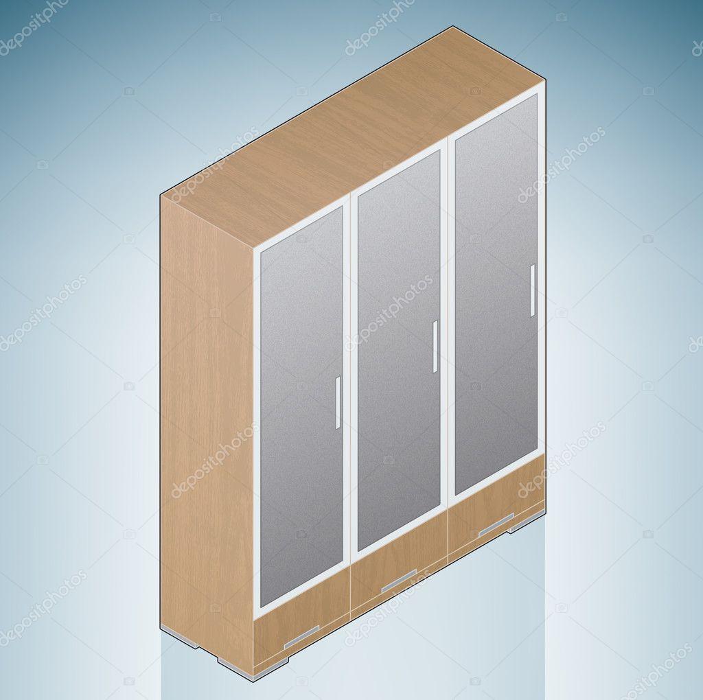 Deuren Voor Slaapkamer.Bemeubeling Slaapkamer Kast Met Glazen Deuren Stockvector