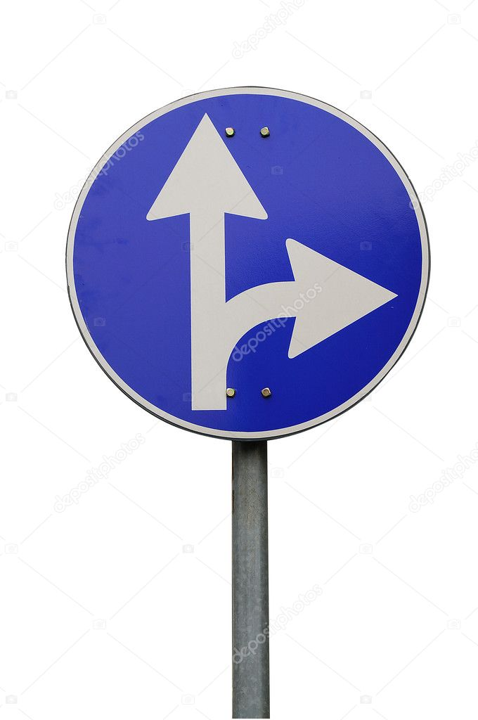 Right turn road sign