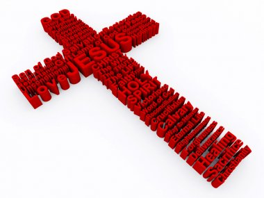 3D Cross made up of various words that describe Christianity and Jesus Christ. stock vector