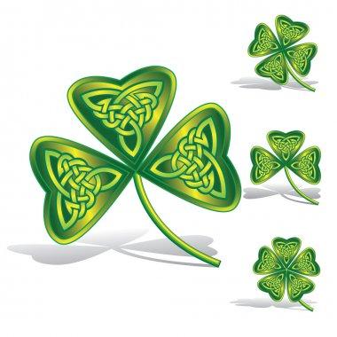 Green shamrocks with celtic knots