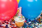 Oslava s balónky, konfety a košíček