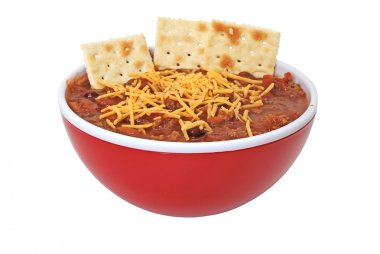 Chili with Cheese and Crackers Isolated