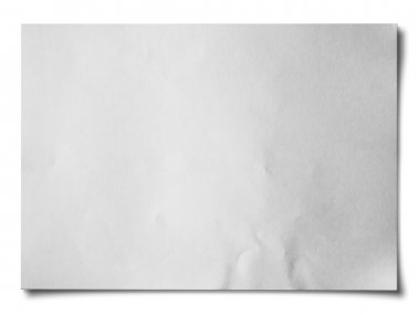 White crumpled paper on white background isolated Horizontal stock vector