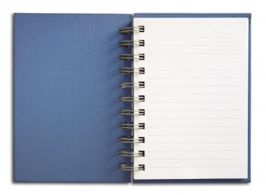 Blue Notebook vertical single white page