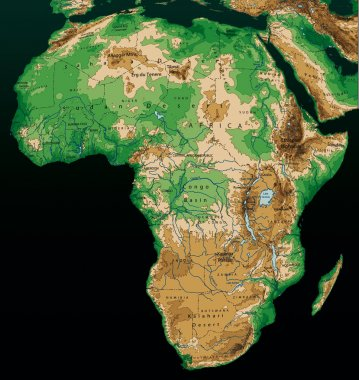 Africa map on black background