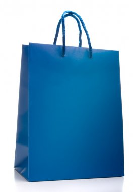 Blue shopping bag isolated