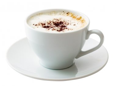 White mug of coffee isolated