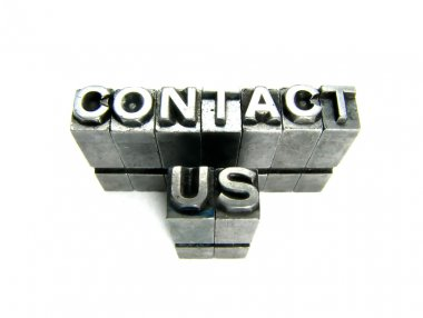 Contact us in vintage letterpress blocks