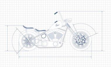 Chopper, bobber, vector, drawing