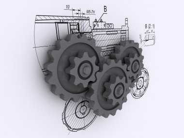 Three gray metallic gears against a background of engineering drawing