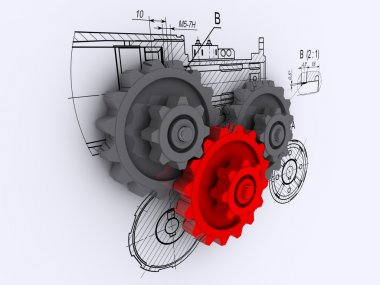 Two gray and one red gears against a background of engineering drawing