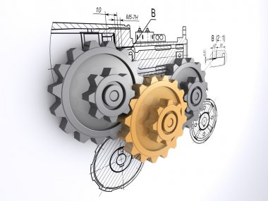 Two metallic gray and one golden gears against a background of engineering