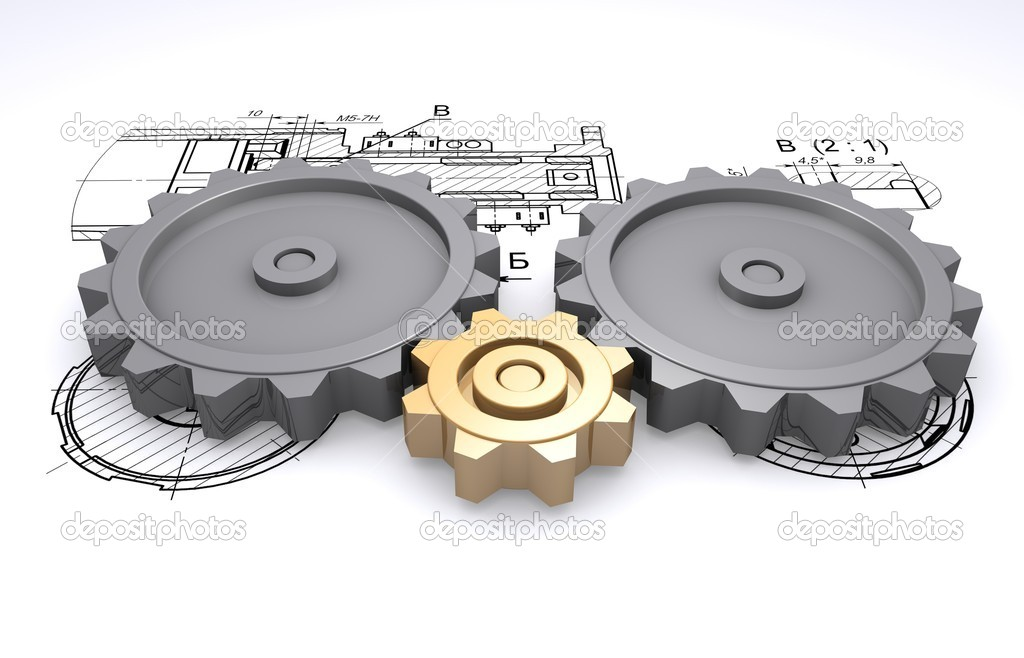 Two big metallic gray and one small golden gears against a background of en