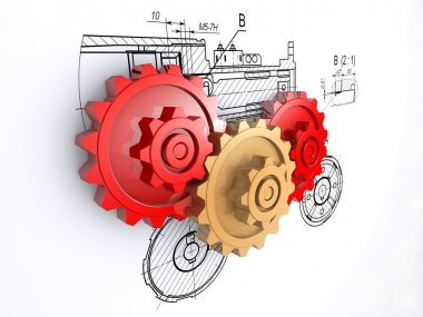 Two metallic red and one golden gears against a background of engineering