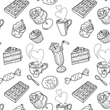 Sweet seamless pattern in vector