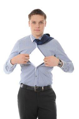 Businessman tears open his shirt