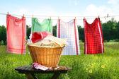 Handtücher trocknen auf der Wäscheleine