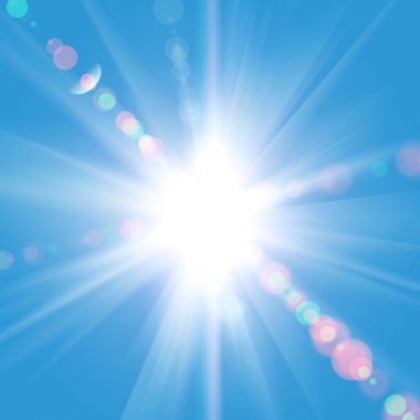 Sun rays against a blue sky stock vector