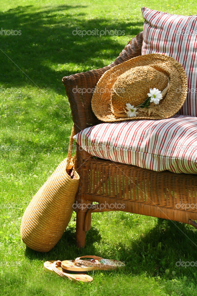 Wicker chair on the grass